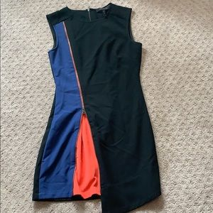 BCBG fitted zip front dress